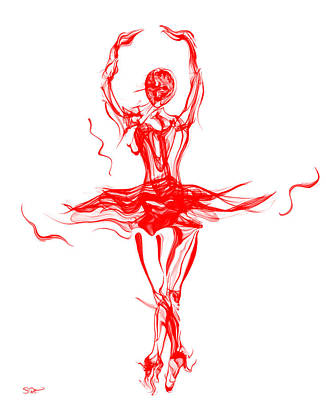 Red Lipstick Ballerina Twirling Art Print by Abstract Angel Artist Stephen K