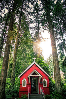 Mother Mary Photograph - Red Little Chapel by Art Spectrum