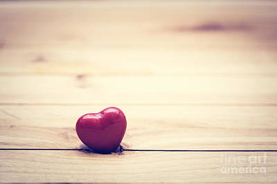 Hearts Photograph - Red Little Heart On Wood by Michal Bednarek