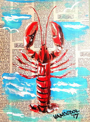 Red Lobster - Newspaper Background Art Print