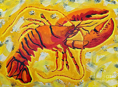 Masters Winners Painting - Red Lobster Yellow Abstract by Scott D Van Osdol