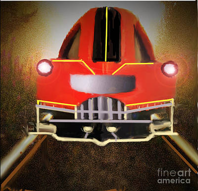 Painting - Red Locomotive by Belinda Threeths