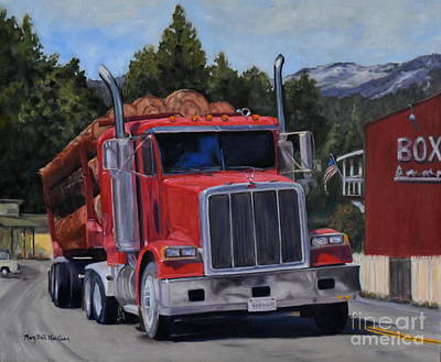 North Fork Painting - Red Logger by Mary Beth Harrison