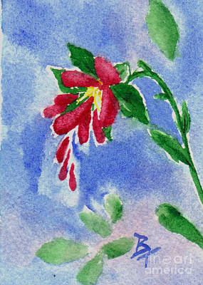 Painting - Red Love Flower Aceo by Brenda Thour