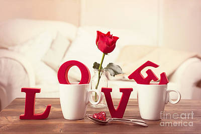 Single Rose Stem Photograph - Red Love Letters For Valentines Day by Amanda Elwell