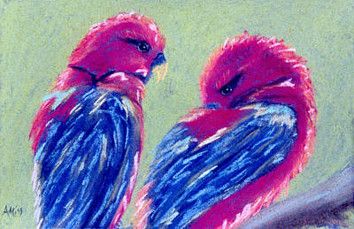 Pastel - Red Lovebirds by Jan Amiss