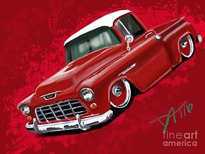 Lowrider Digital Art - Red Lowrider by Daryl Thompson