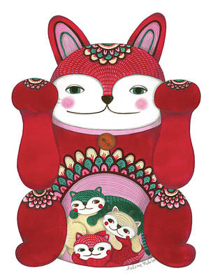 Wall Art - Drawing - Red Maneki-neko by Helena Melo