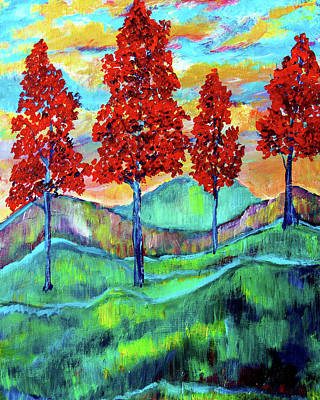 Painting - Red Maples On Blue Hills by Frank Botello