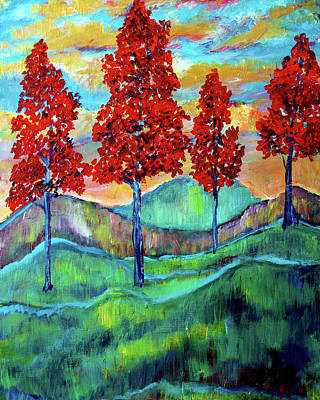 Painting - Red Maples On Green Hills by Frank Botello