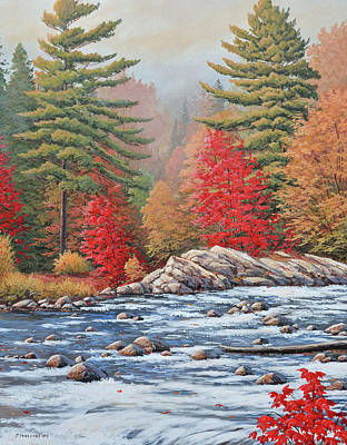 Painting - Red Maples, White Water by Jake Vandenbrink