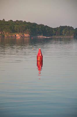 Photograph - Red Marker Buoy - Casco Bay, Maine by Joann Vitali