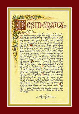 Ehrmann Mixed Media - Red Matted Florentine Desiderata Poster by Desiderata Gallery