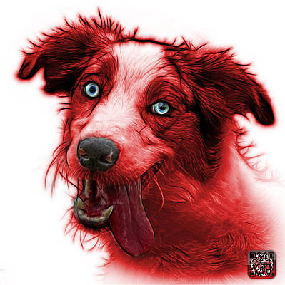 Painting - Red Merle Australian Shepherd - 2136 - Wb by James Ahn