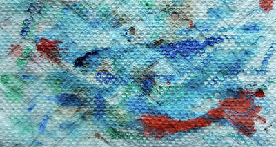Blue Painting - Red Message by Dave Martsolf