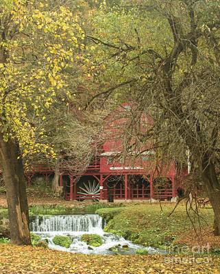 Photograph - Red Mill In Autumn by Robert Frederick