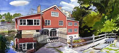 Red Mill Manchester Vt Art Print by Hollis Machala