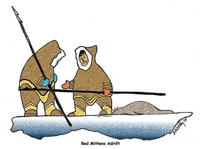 Inuit Drawing - Red Mittens Adrift by Art  MacKay