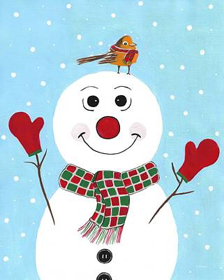 Painting - Red Mittens Snowman by Kathleen Sartoris