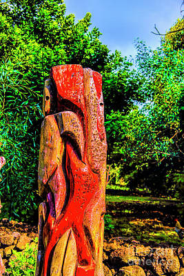 Photograph - Red Moai Carving by Rick Bragan