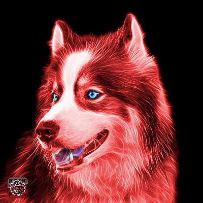 Painting - Red Modern Siberian Husky Dog Art - 6024 - Bb by James Ahn