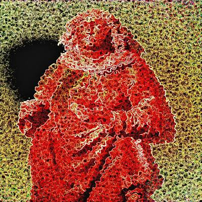 Punching Mixed Media - Red Monk by Viktor Lebeda