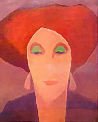 Painting - Red Mood Woman by Lutz Baar