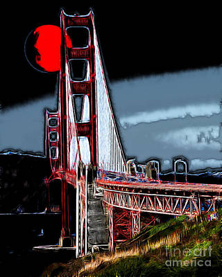 Bay Area Digital Art - Red Moon Over The Golden Gate Bridge by Wingsdomain Art and Photography