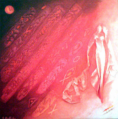 Mixed Media - Red Moon by Saadi Babely