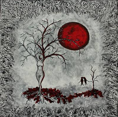 Surreal Landscape Painting - Red Moon by Sylvia Sotuyo