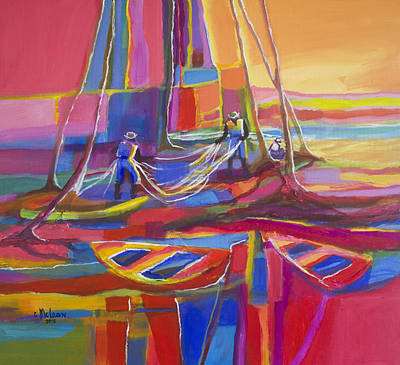 Red Morning Seine Art Print