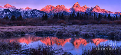Photograph - Red Morning Teton Peaks Panorama by Adam Jewell