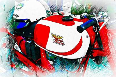 Photograph - Red Moto Morini Motorcycle With Helmet by Dorothy Berry-Lound