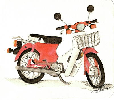 Red Motor Bike Art Print