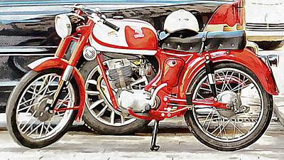 Photograph - Red Moto Morini Corsaro 125 by Dorothy Berry-Lound
