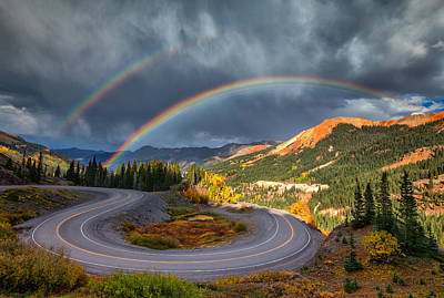 Double Rainbow Photograph - Red Mountain Rainbow by Darren  White