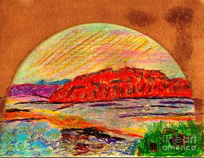 Art Print featuring the painting Red Mountain Utah by Richard W Linford