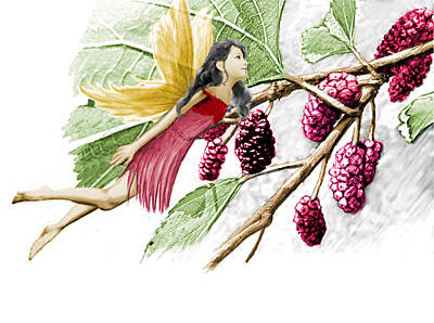 Digital Art - Red Mulberry Tree Fairy With Berries by Yuichi Tanabe