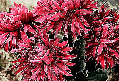 Photograph - Red Mums by Erica Hanel