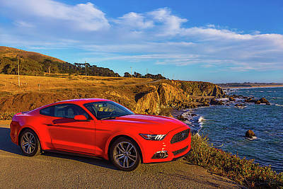 Pacific Coast Highway Wall Art - Photograph - Red Mustang Sonoma Coast by Garry Gay