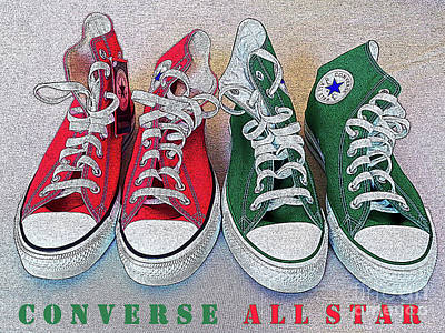 Converse Shoe Digital Art - Red N Green Chuckieh 2 by Don Pedro De Gracia
