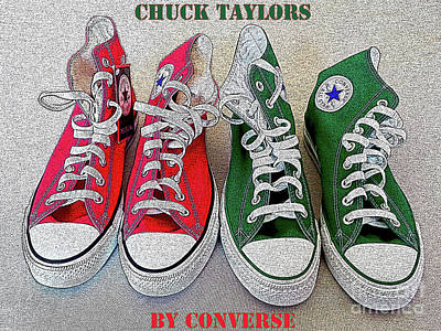 Converse Shoe Digital Art - Red N Green Chuckieh by Don Pedro De Gracia