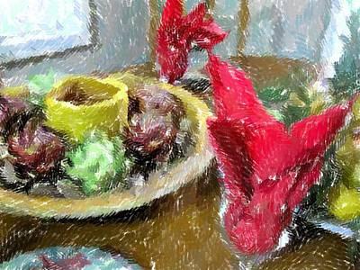Red Napkins Art Print by Michael Morrison