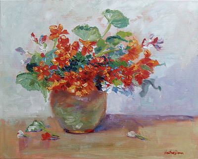 Floral Hand-painted Frame Painting - Red Nasturtiums by Heather Kemp
