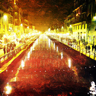 Digital Art - Red Naviglio by Andrea Barbieri