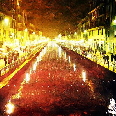 Digital Art - Red Naviglio by Andrea Barbieri