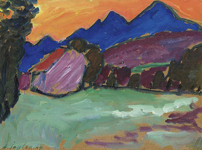 Jawlensky Painting - Red Night - Blue Mountains by Alexej von Jawlensky