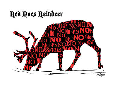 Digital Art - Red Noes Reindeer by Mike Martinet