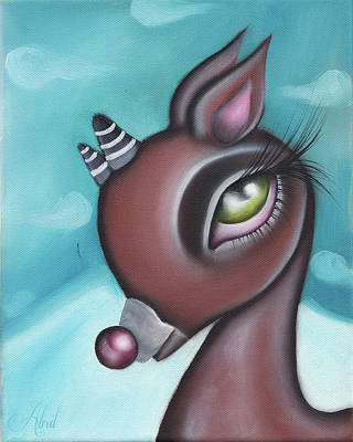Painting - Red Nose Reindeer  by Abril Andrade Griffith