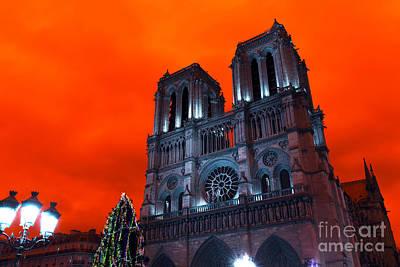 Photograph - Red Notre Dame Pop Art by John Rizzuto